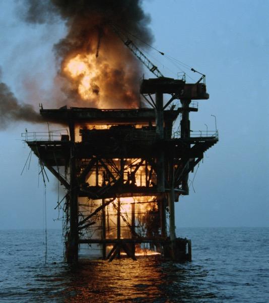 Burning iranian platform